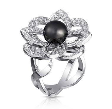 Bague Fleurs Perles Noire Louis Vuitton